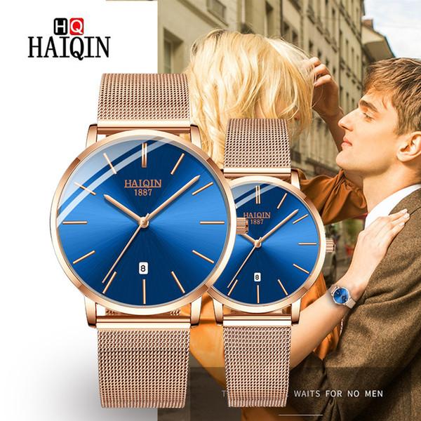 HAIQIN Relojes de Pareja 2019 Nueva Marca de Moda de Lujo de Cuarzo Impermeable Mujeres Reloj Malla Reloj de Acero Inoxidable zegarek damski
