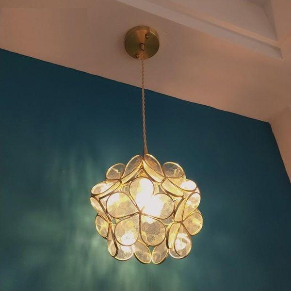 Schlafzimmer Kronleuchter Floral Pendelleuchte Kupfer Moderne Hängelampe Nachttischlampen Ganglicht Glaspendelleuchte Leuchte