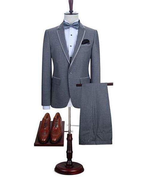 Yeni Varış Tepe Yaka Erkek 2 Adet Suits Bir Düğme Damat Düğün Smokin 2019 Suits (Ceket + pantolon + papyon)