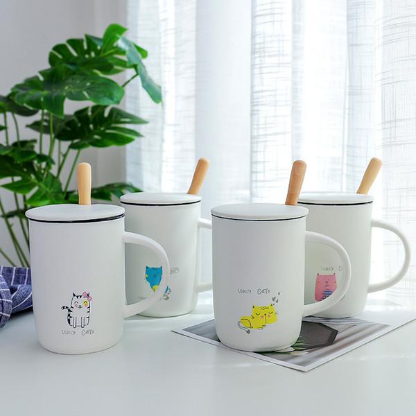 W&M Simple cartoon White mug Originality With spoon thermostability Coffee milk ceramic glass