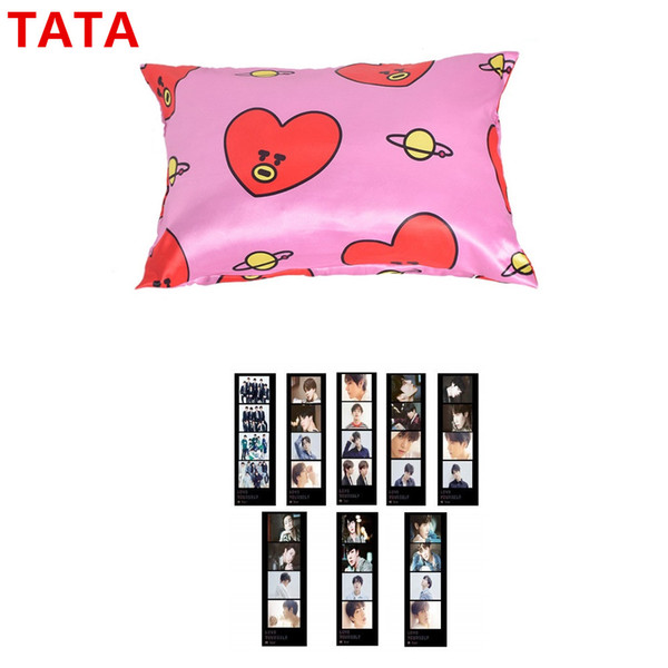 K-Pop Bangtan Boys BT21 Cute Pillow 40x60CM Ice Silk Fabric Pillow with LOMO Card