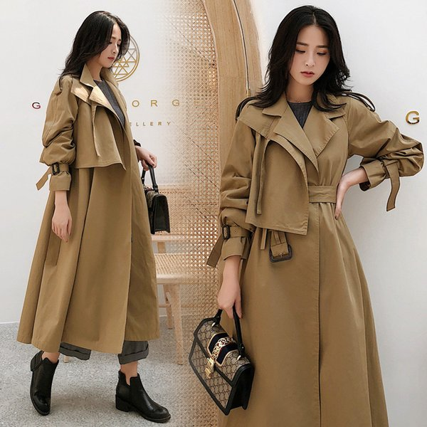 2019 warm knee-high chic women trench coat with pockets solid color waist belt female windbreaker dress temperament