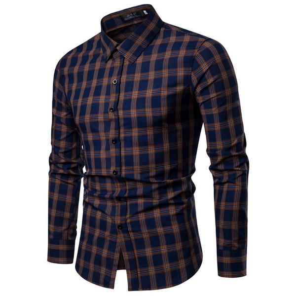 Brand 2019 Fashion Male Shirt Long-sleeves Tops Blue Lattices Mens Dress Shirts Slim Men Shirt S-xxl Bg