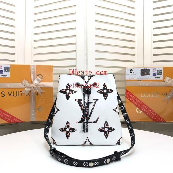 hochwertige Markenart und weisehandtasche weiße nähende Druckleopard-Wannenbeutel echtes Leder Crossbody Beutelhandtaschen-Geldbeutelfrauen QW-8