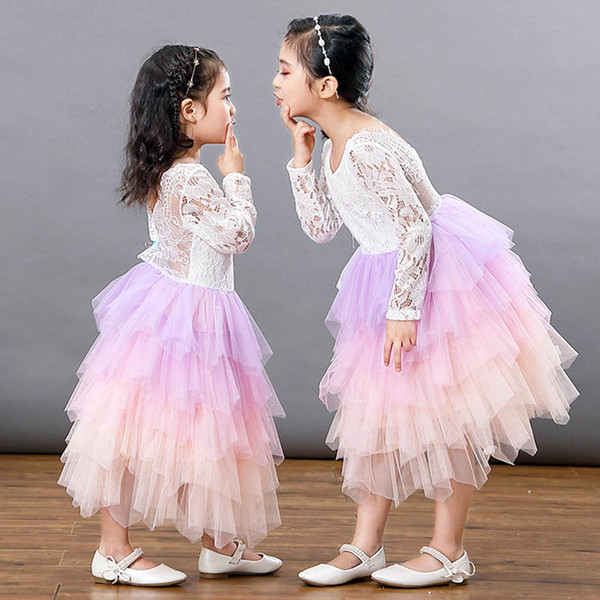 Ins vestidos de niñas tutu de encaje vestido de los niños ropa de diseñador niñas faldas en niveles vestidos de niña de flores para el banquete de boda vestidos de los niños A6602