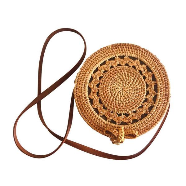 Handmade Rattan Woven Round Bag Cutout Vintage Bohemia Single Shoulder Bag Natural Women's Fashionable Beach Bags Brand New