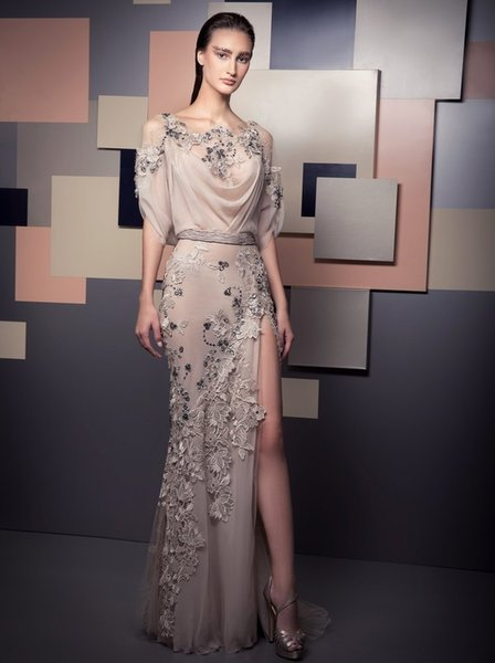 Makellose Ziad Nakad Mermaid Perlen Abendkleider Bateau Neck Halbarm Applizierte bodenlangen Abendkleider Side Split Formal Dress