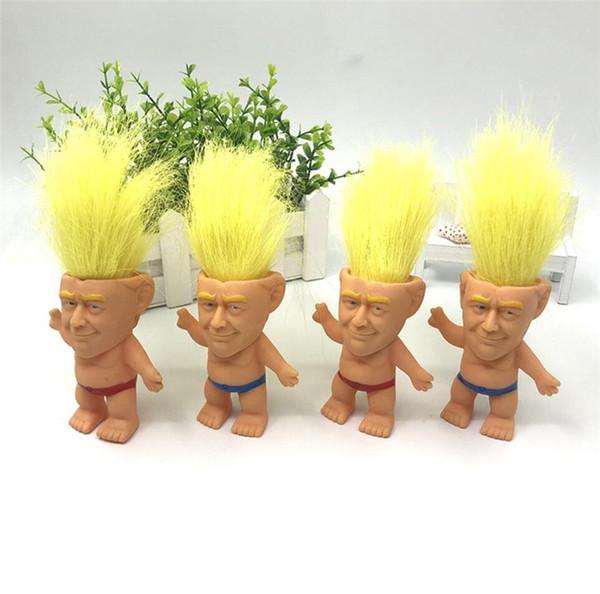 Donald Trump figuras de acción del pelo de la muñeca Troll 10CM EE.UU. presidente 2020 Elección General Modelo Magic Toys Kids Mano Juego regalos creativos A61305