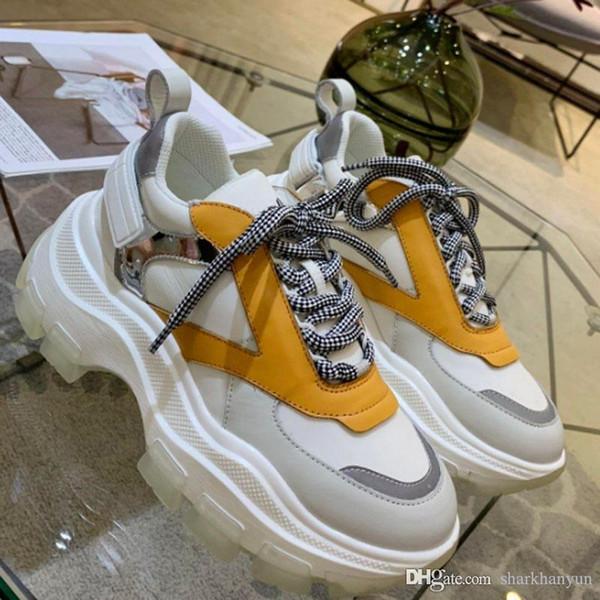 Yeni Klasik Rahat Ayakkabılar Tasarımcı Moda Lüks Tasarım Deri Made High-end Aydınlık Rahat Ayakkabılar ile 8 cm Yüksek sole numarası: 41 + 2