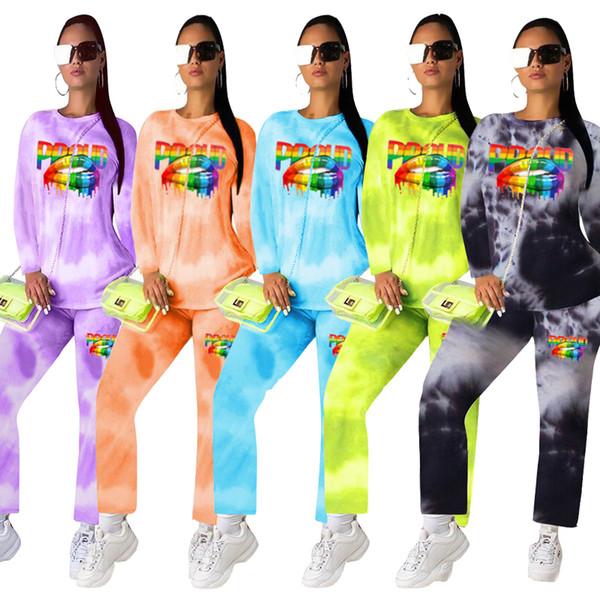Mulheres trajes de grife carta lip impressão Outono Long Sleeve Hoodie T camisas Com Calça Esporte 2 peça Set Casual Sportswears Gradient Set