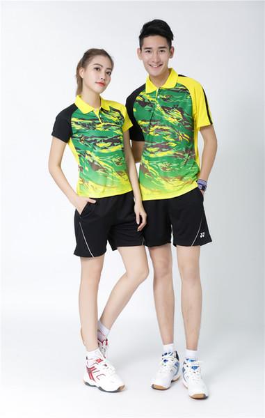 YO NEXX 6021 + 7009 Schnelltrocknender, atmungsaktiver Badmintonanzug Kurzarm-T-Shirt mit Rundhalsausschnitt Laufen Basketballbekleidung MenWomen YELLOW