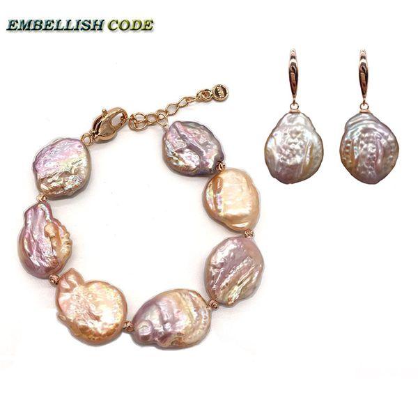 nuovo braccialetto di perle barocche Bangle gancio ciondolo orecchino set placcato oro rosso pesca colore viola piatto rotondo a forma di moneta donne reali