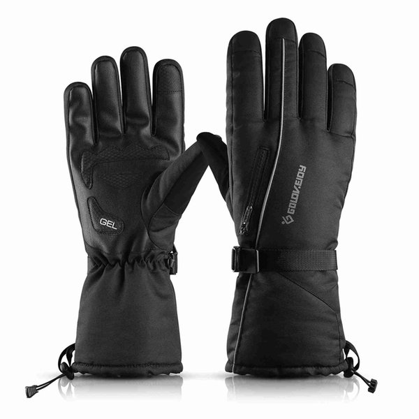 golovejoy ski gloves wind-proof waterproof men women outdoor mountaineering cold-proof and thicker pockets keep warm winter bike motorcycle