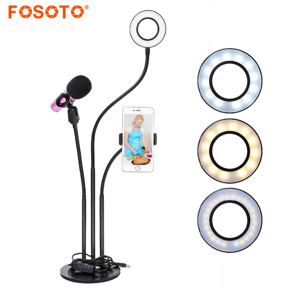hotographic Lighting fosoto Led Selfie Ring Light Phone Photo Dimmable 3000-5000k Camera Video Ring Lamp Photographic Lighting For Live S...