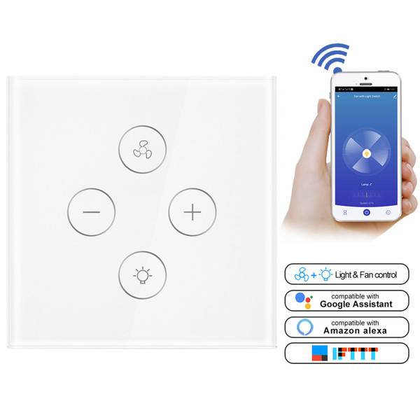 WiFi Smart Ceiling Fan Light Wall Switch,Smart Life/Tuya APP Remote For Fan  Light Compatible With Alexa And Google Home Smart Home Design Smart Home