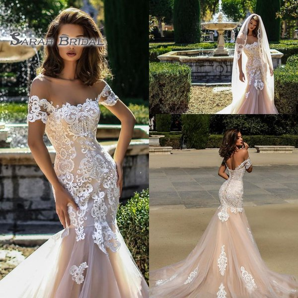 top popular 2019 Vintage Champagne Mermaid Off Shoulder Wedding Dress Sexy Long Backless Lace Evening Wear Formal Gown High-end Wedding Boutique 2020