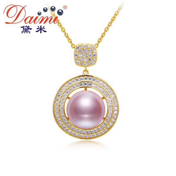 DAIMI 10-10.5mm Natural Pearl Necklace Real 925 Sterling Silver Pink Lavender Pearl Pendant Necklace for Women