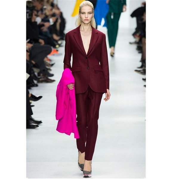 Customized women's slim single-breasted suit two-piece suit (jacket + pants) ladies business fashion formal business wear
