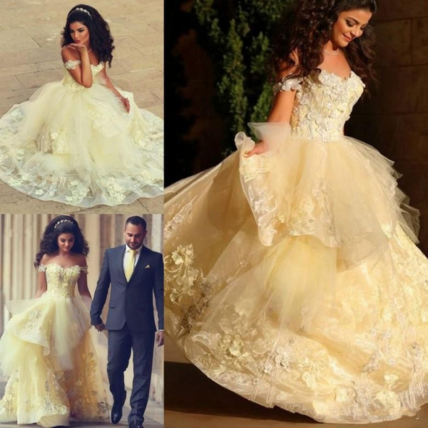 2019 Said Mhamad Arabic Light Yellow Ball Gown Quinceanera Dresses Prom Party Wear Sweet 16 Appliques Tired Ruffles Vestido De Noiva