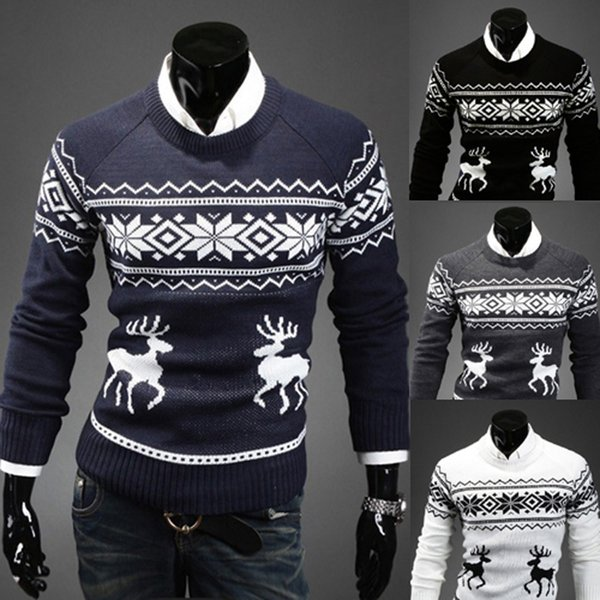 Men's Style Fashion Casual deer print men sweater Slim Round Neck Long Sleeves Pullovers Knitted Clothing Men Sweaters