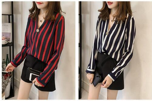 V-neck shirts female long-sleeved autumn new casual loose large size shirt striped chiffon shirt ladies fashion shirt 002