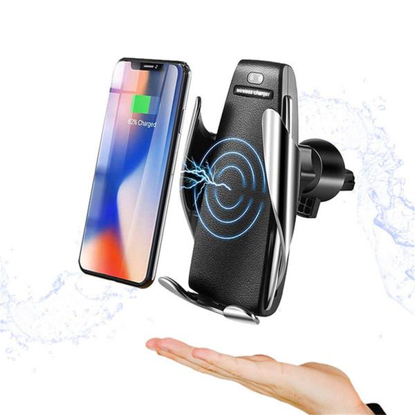 Cargador de coche inalámbrico S5 Sensor infrarrojo Sujeción automática Soporte de teléfono de carga rápida Montaje para iPhone Xs Max Huawei Mate 20 Pro Samsung S9