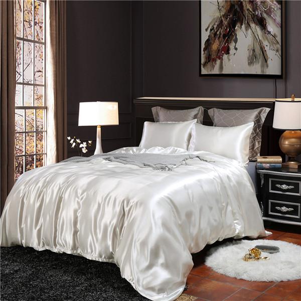 HM Life 2pcs/3Pcs/4pcs Nordic Style Silk Bedding Set Queen Size Satin Grey Duvet Cover Solid Color Set Simple Beautiful Bedclothes