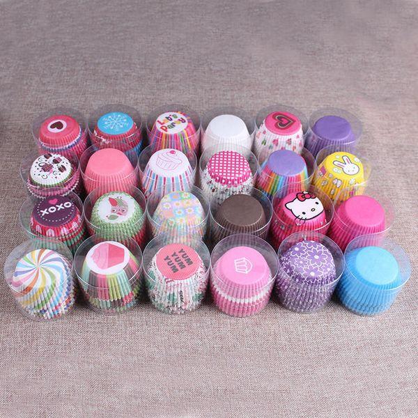 무료 배송 100PCS / lot 다채로운 종이 케이크 컵케익 라이너 베이킹 머핀 상자 컵 케이스 파티 트레이 케이크 몰드 장식 도구