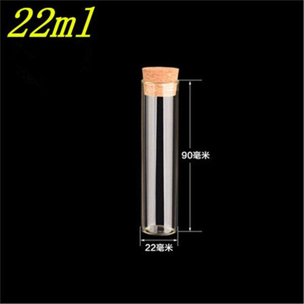 Bouteilles claires transparentes en verre vides de 22 * 90mm 22ml avec des flacons en verre de bouchon de liège vase d'emballage tube à essai 100pcs / lot