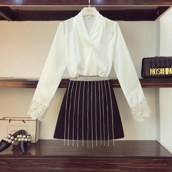 Spring New Fashion Elegant Women Light Mature Wind Chiffon Satin Shirt + Heavy Rhinestone Drill Chain Skirt Two Piece Set Femme