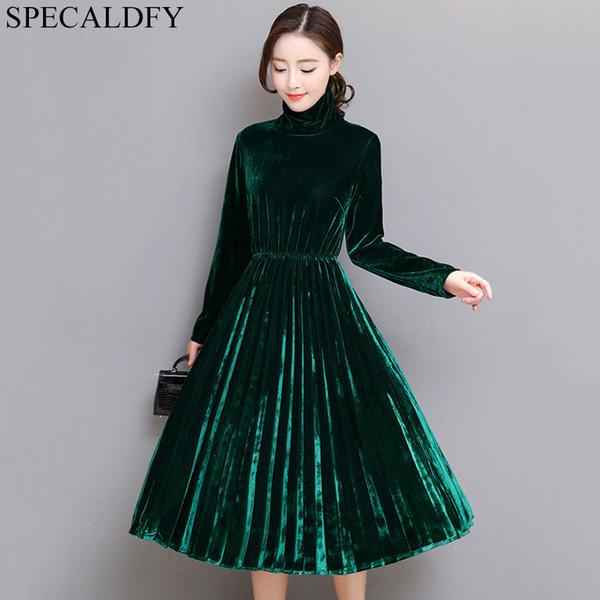 5xl Women Green Black Velvet Dress Winter Turtleneck Dress Long Sleeve Vintage Pleated Dresses Plus Size Women Clothing Vestidos T4190614