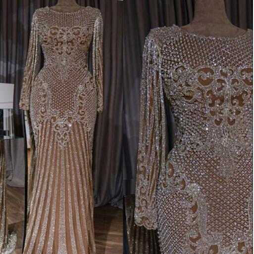Evening dress Long Dress V-Neck Beaded Beading Long Sleeve Sexy Dazzing Modern Customable All Sizes Cool Sexy Dazzling RufflS