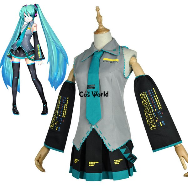 animés costumes de cosplay Vocaloid Hatsune Miku Tops Robe Uniforme Outfit Anime Personnaliser Costumes Cosplay Chaussures