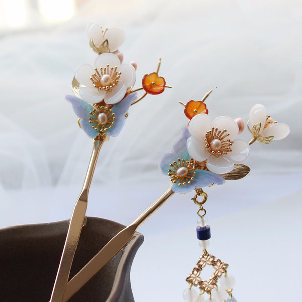 Cabelo Flor de vidro Design Vara Original cabelo Pinos Freshwater pérolas borla jóia do casamento para as mulheres Handmade Hairpin