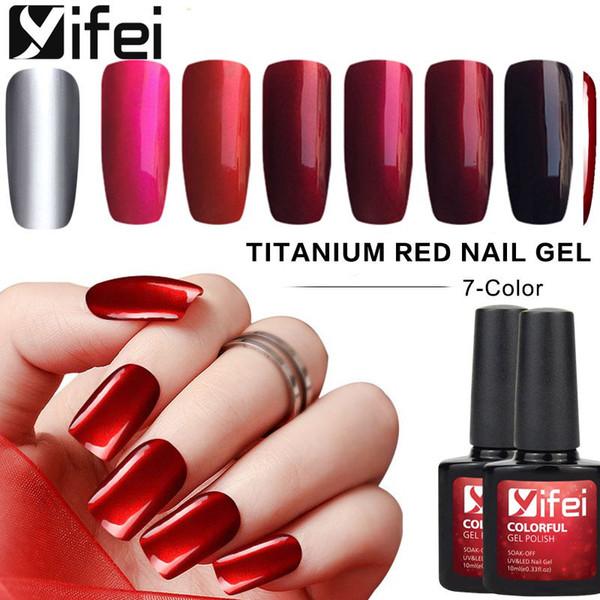 Toptan Titanyum Kırmızı Jel Vernik Ayna Metal Tırnak Jel Lehçe 10 ML / Şişe UV Jel Tırnak Cila Gümüş Oje Çiviler Sanat Araçları