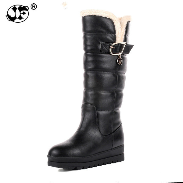 large size 34-43 rubber bottom red black knee high boots fashion waterproof platform women shoes woman snow boots fur 89iou