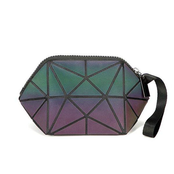 Fashion Cosmetic Bag Women Geometric Zipper Luminous Makeup Bag Ladies Organizer Folding Travel Make Up Wash Kit Toiletry