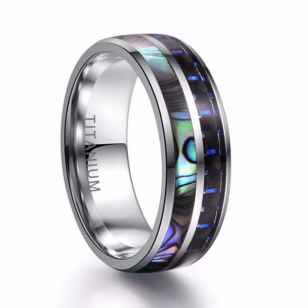 Anello in acciaio inox ad alta resistenza in fibra di carbonio con anello in tungsteno da 8 mm