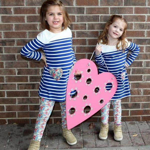 vestido de novia Kids Girls Dress Long Sleeved Children Girls Unicorn Blue White Contrast Colors Striped Flower Cotton Baby Girls Dress INS