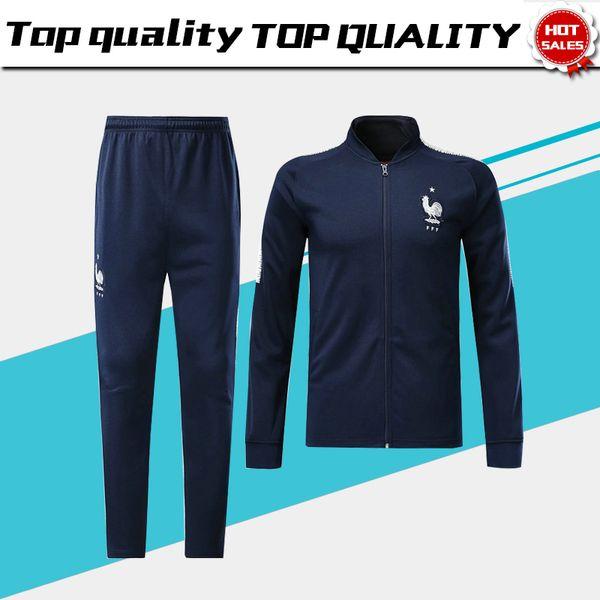 online store 06989 ddde3 2019 2018 World Cup France Long Sleeve Jacket Suit Kit Soccer Jersey France  Blue Training Uniform 2018 Football Uniform Jacket+Pants From ...