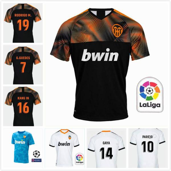 2019 Valencia CF #19 RODRIGO home white Soccer Jerseys 19 20 Men away black Soccer Shirts #22 S.MINA club team football uniforms Sales