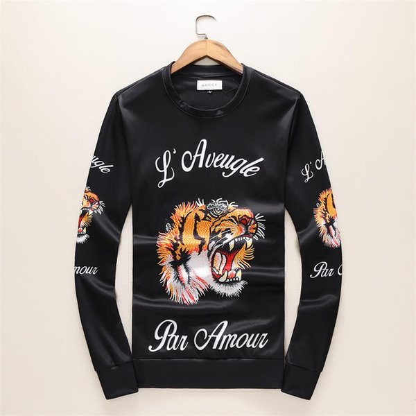 Men's hoodie fall 2019 new hoodie with pullover neck embroidered tiger-head men's blazer with stylish undercoat
