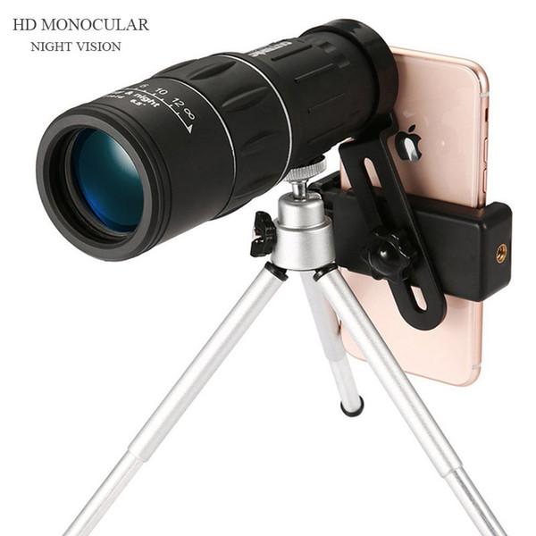 16X52 Dual Focus Monoculare Spotting Night Vision Telescopio Zoom Ottica Obiettivo Binocolo Lenti da rivestimento Caccia Ottica Scope A