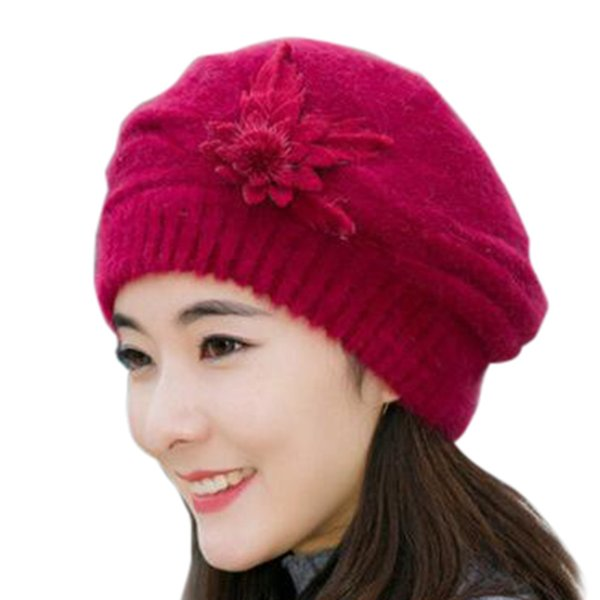 19f81af4725857 Fashion new arrival Womens Flower Knit Crochet Beanie Hat Winter Warm Cap Beret  wholesale #N05