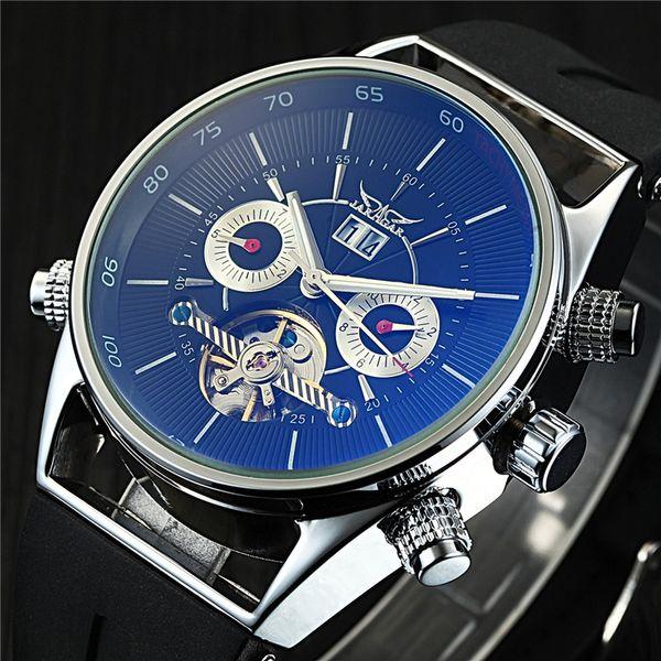 alendars design Jaragar Mens Watches Top Brand Luxury Automatic Fashion Sport Watch Shark Lines Design Rubber Band Tourbillion Display Ca...