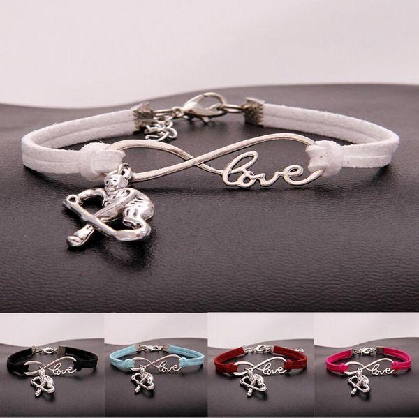 Hot 10pcs/lot Infinity Love 8 Ice hockey player pendant Bracelet Charm Pendant Women/Men Simple Bracelets/Bangles Jewelry Gift A145