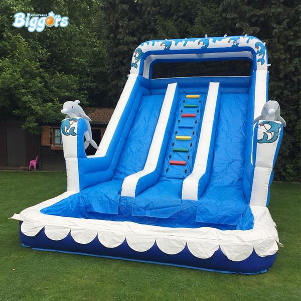 Nueva diapositiva de verano divertido parque Juegos de PVC agua inflable piscina de diapositivas con soplador