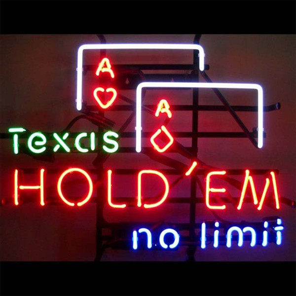 New Star Neon Sign Factory 24X20 Inches Real Glass Neon Sign Light for Beer Bar Pub Garage Room Texas Hold'em No Limif.