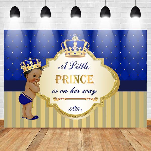 Mehofoto Photo Background Photophone Un petit prince est sur son chemin Peau sombre garçon Photo fond d'or Couronne bleu toile de fond