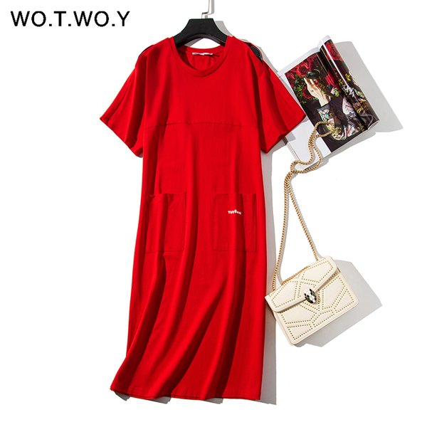 WOTWOY Long T-shirt Dresses Women Summer Cotton O-Neck Off Shoulder Maxi Dress Hollow Short Sleeve Loose Packet Women Red Dress